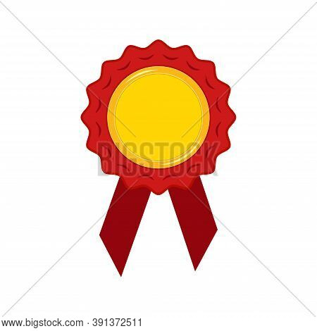 Gold Medal With Red Ribbon And Rosette Isolated On White Background. Champion Golden Badge - Circle