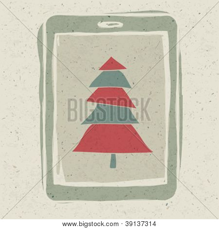 Xmas tree on tablet device screen, technology concept vector, EPS10.