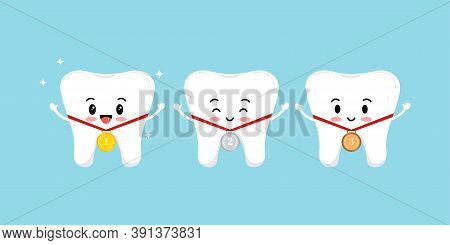 Teeth And Medal Golden, Silver, Bronze With Laurel Branches And Red Ribbon Isolated On Background. D