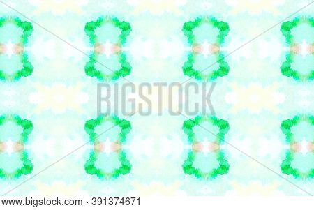 Seamless Watercolor Geometry. Rough Abstract Gouache Effect. Green And Yellow, Navajo Style. Waterco