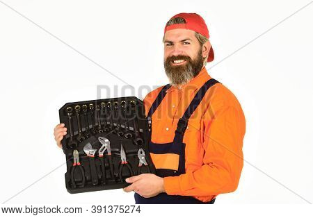 Professional Equipment. Really Good Tools. Toolbox Talk. Mechanic Tool Box. Man In Uniform Carries T