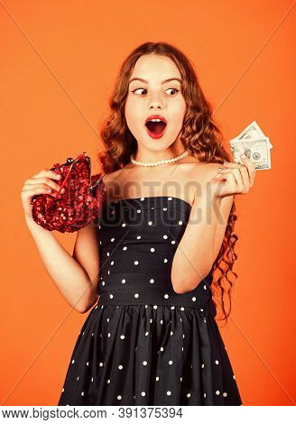 Rich Girl Kid Show Money Cash. Pick Out Dollars From Wallet. Child Living Well Off. Luxury And Succe