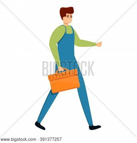 Technician With Toolbox Icon. Cartoon Of Technician With Toolbox Vector Icon For Web Design Isolated