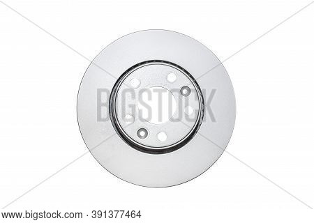 Front New Brake Disc With Anti-corrosion Coating, Isolated On A White Background With A Clipping Pat