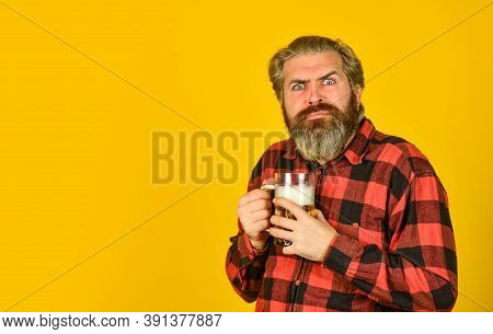 Beer Brewery. Hipster Drink Beer. Celebrate With Alcohol. Adding Joy In Life. Mature Bearded Man Hol