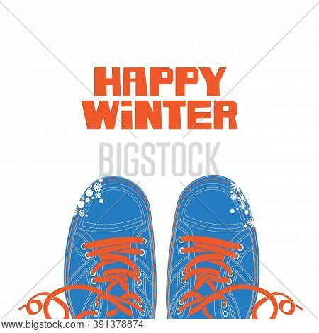 Winter Banner With Red Happy Winter Lettering And Blue Shoes With Red Laces On The White Snowy Backg