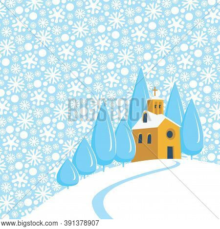 Snowy Winter Landscape Or Banner With Village Church On The Snow-covered Hill. Vector Illustration,
