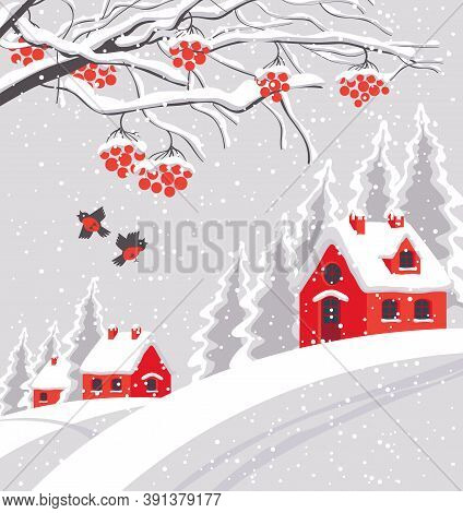 Snowy Winter Landscape With Branches And Bunches Of Rowan Tree, With Village And Red Houses On The S