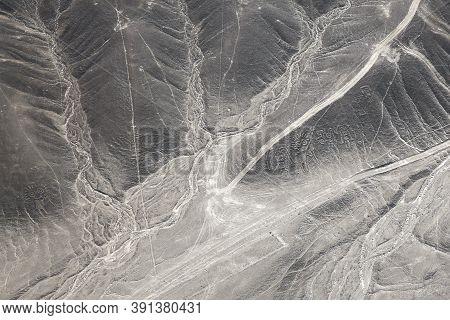 Aerial View Of Palpa Geoglyphs, The Paracas Family. Nazca, Peru.
