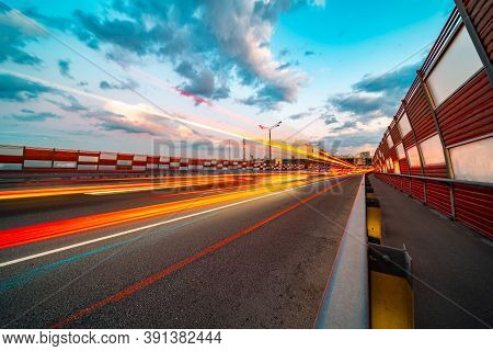 Light Trail Vehicles In Traffic Jam At Highway