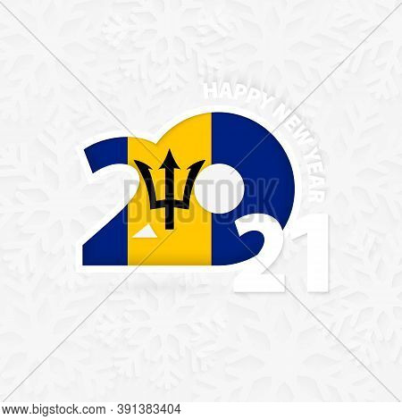 Happy New Year 2021 For Barbados On Snowflake Background. Greeting Barbados With New 2021 Year.