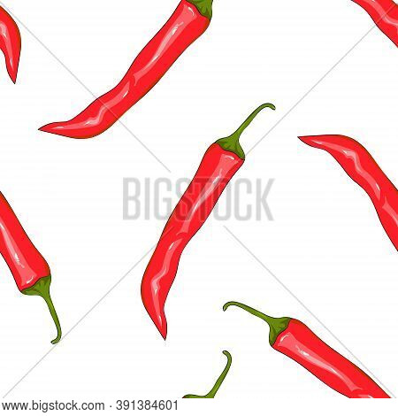 Seamless Pattern Red Chilli Pepper. Peppers Background. Hand Drawing Chilli Pepper. Vector Illustrat