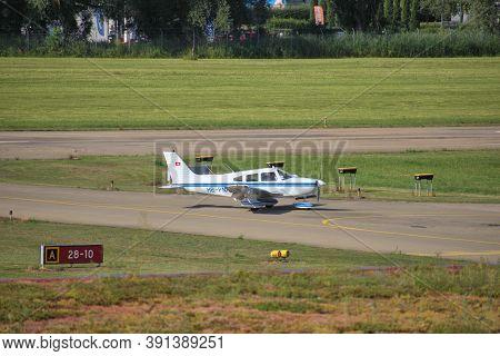 Piper Archer Is Taxiing At The Airport Altenrhein Near Saint Gallen In Switzerland 10.7.2020