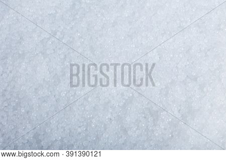 White Plastic Beads On Wood  Background, Polymers Bead Or Polymer Resin, Polymer Pallet, Product Fro