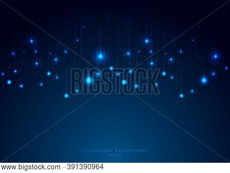 Abstract Technology Futuristic Concept Line And Node On Blue Background. Networking Science. Dark Wi