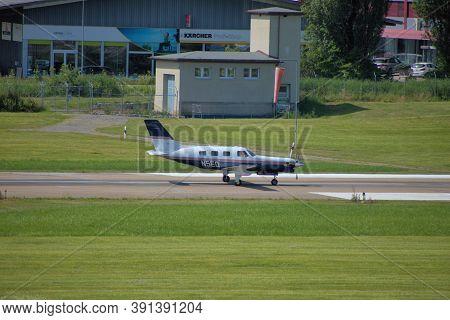 Piper Malibu Mirage Is Taxiing At The Airport Altenrhein Near Saint Gallen In Switzerland 10.7.2020