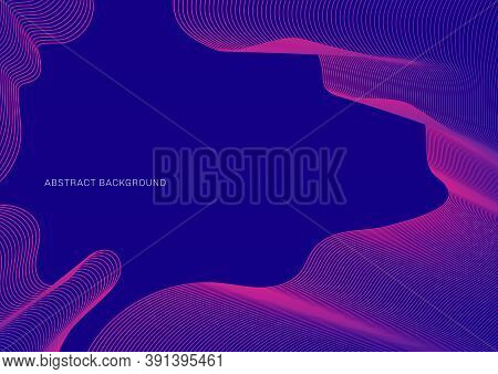 Abstract Pink Lines Pattern Ripple Thin Curves On Blue Background. Vector Illustration