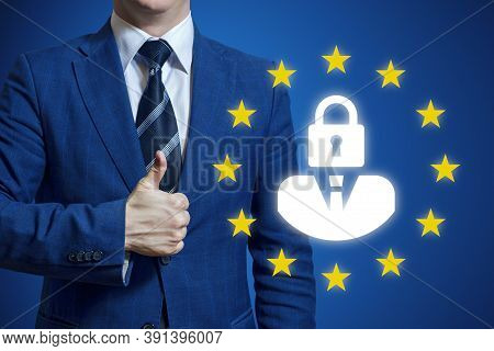 Businessman Hand Holding Sign General Data Protection Regulation. Gdpr (general Data Protection Regu