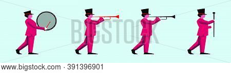 Set Of Marching Band Cartoon Icon Design Template With Various Models. Vector Illustration Isolated