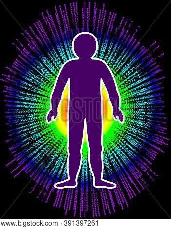 The Aura Of The Body. Rainbow Color Marked Layers Of The Male Body. Etheric, Emotional, Metallic, As