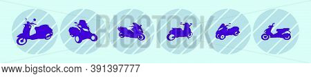 Set Of Motorcycle Cartoon Icon Design Template In Various Models. Vector Illustration Isolated On Bl