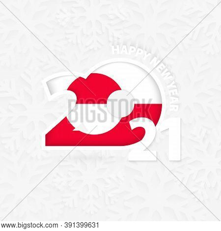 Happy New Year 2021 For Greenland On Snowflake Background. Greeting Greenland With New 2021 Year.