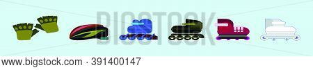 Set Of Roller Skates Cartoon Icon Design Template With Various Models. Vector Illustration Isolated