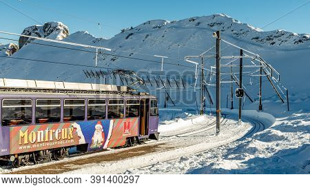 Rochers De Naye, Montreux / Switzerland - 12.15.2018: Santa Claus Paradise Cog Railway Train Carriag