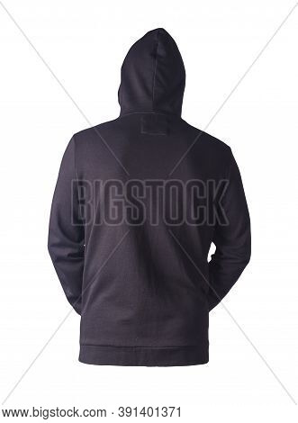 Black Sweatshirt With An Iron Zipper With A Hood Isolated On A White Background. Casual Sportswear
