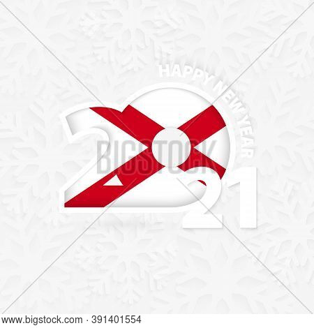 Happy New Year 2021 For Alabama On Snowflake Background. Greeting Alabama With New 2021 Year.