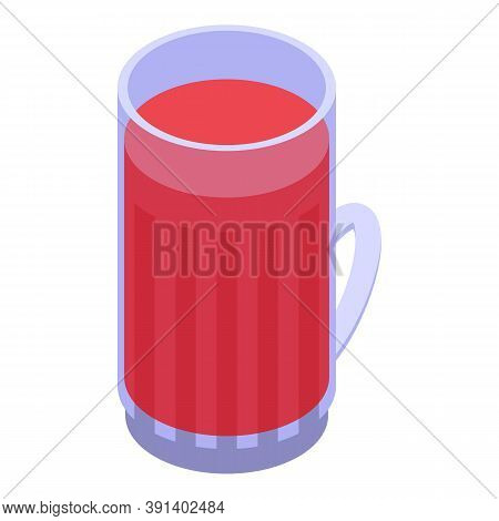Red Tea Mug Icon. Isometric Of Red Tea Mug Vector Icon For Web Design Isolated On White Background