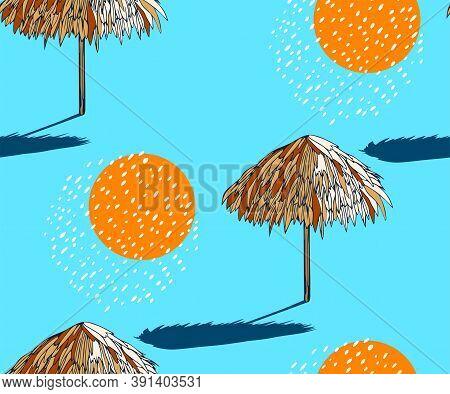 Seamless Summer Beach Pattern. Hello Summer, Holiday Concept. Pop Art. Summer Holiday. Vector Seamle