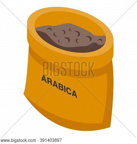 Coffee Arabica Sack Icon. Isometric Of Coffee Arabica Sack Vector Icon For Web Design Isolated On Wh
