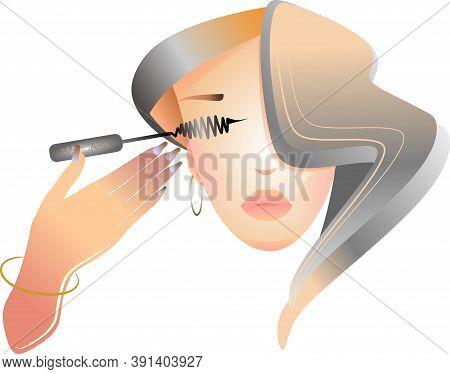 Makeup Artist With Mascara, Long Hair, Beautiful Woman Holding Her Mascara.