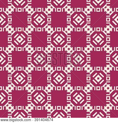 Vector Geometric Seamless Pattern With Small Rhombuses, Squares, Square Grid, Lattice, Lines, Tiles.