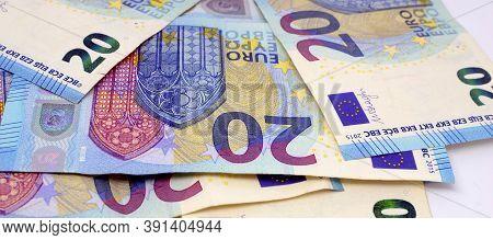Cash, 20 Euro Bills.20 Euro Banknotes Money Euro Banknotes