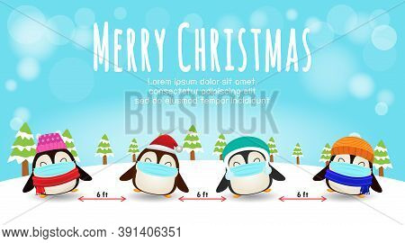 Merry Christmas For New Normal Lifestyle Concept And Social Distancing, Cute Of Penguin With Surgica