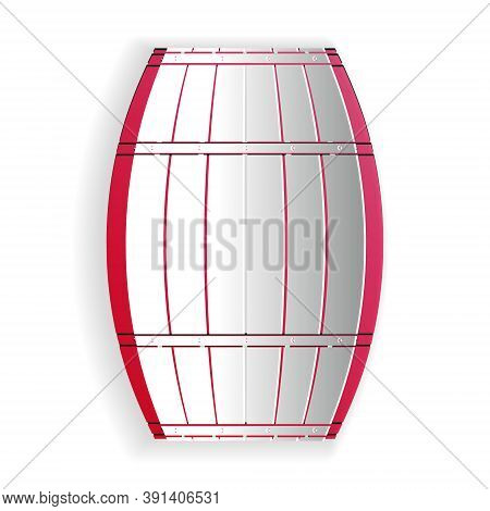 Paper Cut Wooden Barrel Icon Isolated On White Background. Alcohol Barrel, Drink Container, Wooden K