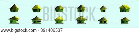 Set Of Shack Or Huts Cartoon Icon Design Template With Various Models. Vector Illustration Isolated