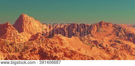 Planet mars landscape, 3d render of imaginary mars planet mountain terrain, science fiction illustration.
