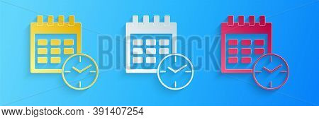 Paper Cut Calendar And Clock Icon Isolated On Blue Background. Schedule, Appointment, Organizer, Tim