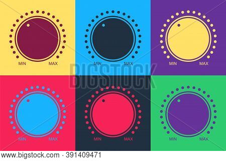 Pop Art Dial Knob Level Technology Settings Icon Isolated On Color Background. Volume Button, Sound