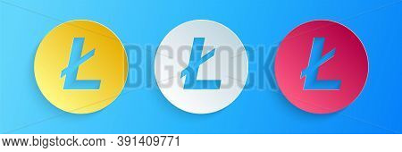 Paper Cut Cryptocurrency Coin Litecoin Ltc Icon Isolated On Blue Background. Digital Currency. Altco