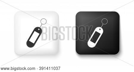Black And White Key Chain Icon Isolated On White Background. Blank Rectangular Keychain With Ring An