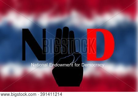 Concepts Of Three Finger Salute For Democratic In Thailand
