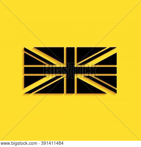 Black Flag Of Great Britain Icon Isolated On Yellow Background. Uk Flag Sign. Official United Kingdo