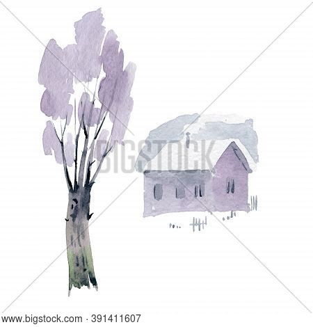 Country House And Tree In Winter. Watercoclor Illustration