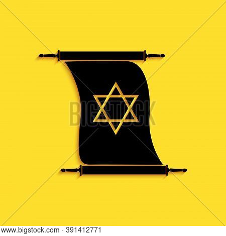 Black Torah Scroll Icon Isolated On Yellow Background. Jewish Torah In Expanded Form. Torah Book. St