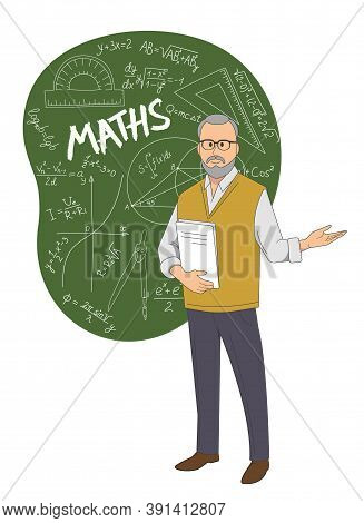 A Math Teacher Standing On The Background Of A Chalkboard With Equations Drawn On It.