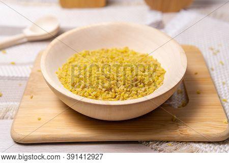Raw Bulgur Close Up. Concept Of Agriculture. Grains Of Bulgur Wheat